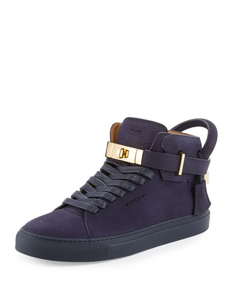 BUSCEMI 100Mm Men'S Nubuck Leather High-Top Sneaker, Blue Ink. #buscemi #shoes #