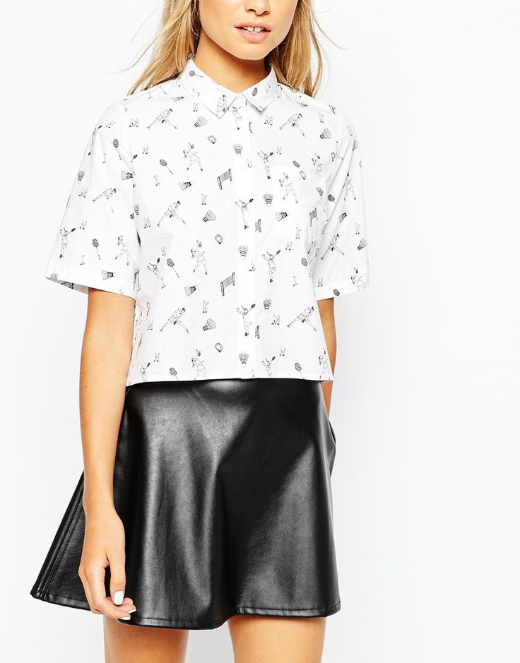 Image 3 of Monki Cropped Badminton Print Shirt