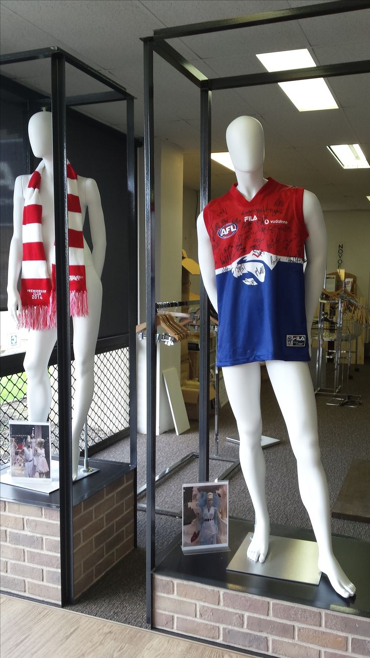 Footy finals fever has arrived at O.M.A. The custom display plinths were a feature at a trade fair last year and the mannequins are from the IDW Concrete featureless range