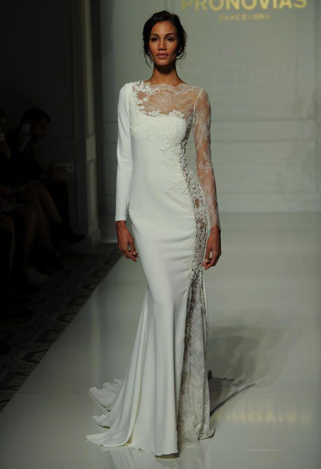 Pronovias asymmetrical wedding dress with half solid white and half sheer lace Fall 2016 | https://www.theknot.com/content/pronovias-wedding-dresses-bridal-fashion-week-fall-2016