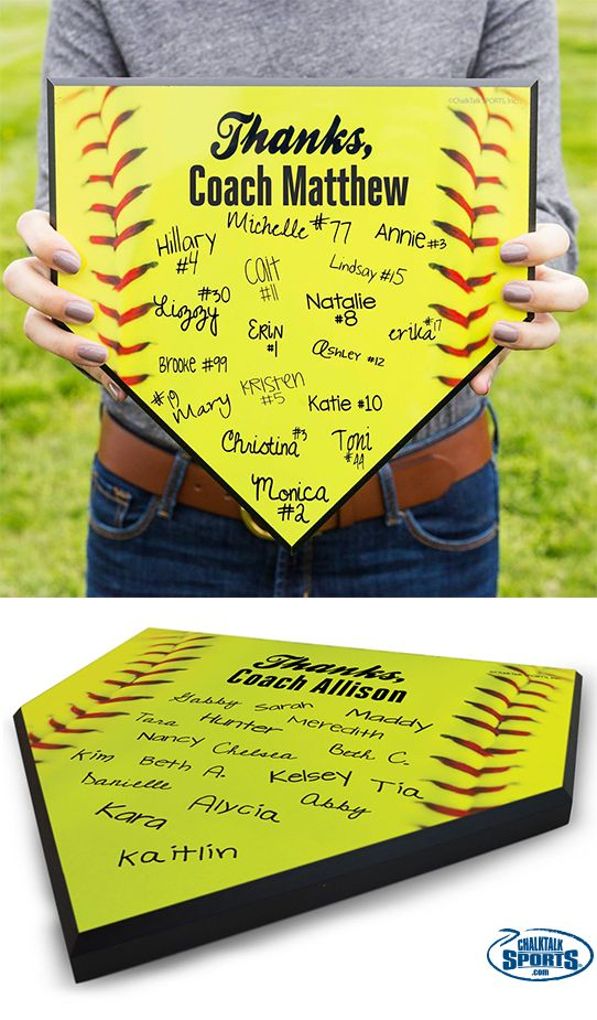Still trying to think of a great end-of-season gift for your awesome softball coach? How about a Thanks Coach Baseball home plate that the whole team can sign!