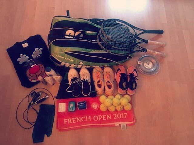 """Thank you for sharing your awesome gear with us! @tine_sperle """"Tennis shoes and jogging shoe, #Frenchopen towel, balls, string, rackets, tape, sun creme, body Lotion, hairspray, Tera Band , jumping rope, painkiller, funkychristmas jumper"""" #etennisleague #etennisleaguenation #tennis #bagcheckthursday #bagchekers #tennisgear #tennisgirl #vienna #bagchekers"""