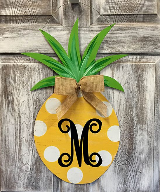Yellow Polka Dot Initial Pineapple Door Hanger