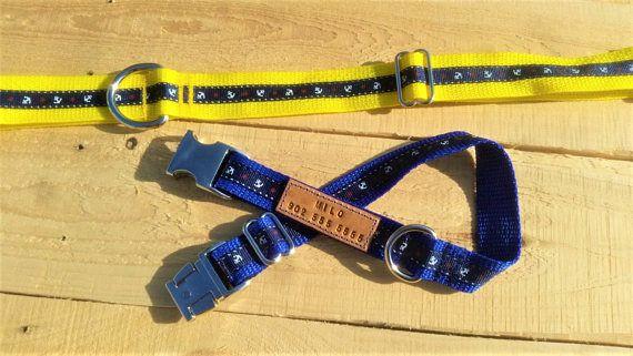 Blue anchors collar blue anchor nautical dog collar male