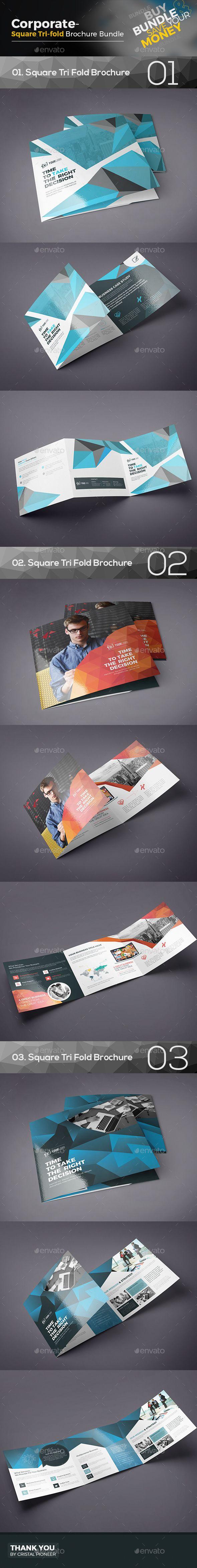 Square Tri Fold Brochure Bundle 3 in 1  — EPS Template #brochure #square template bundle • Download ➝ https://graphicriver.net/item/square-tri-fold-brochure-bundle-3-in-1/18197866?ref=pxcr