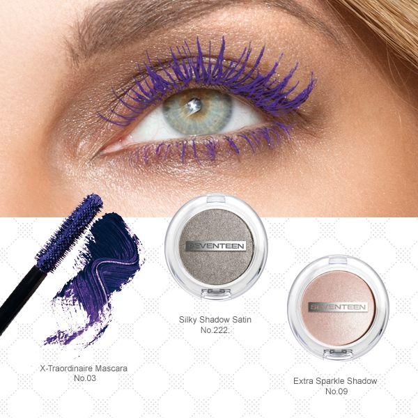 Seventeen Cosmetics #seventeen #cosmetics #eyeshadow #mascara #xtraordinaire #silky #makeup #violet #sparkle #eyes #beauty