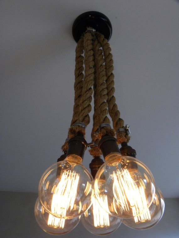 5 Rope Cluster Pendant Light- Industrial Chandelier- Rustic Lighting Industrial Pendant Ceiling Fixture