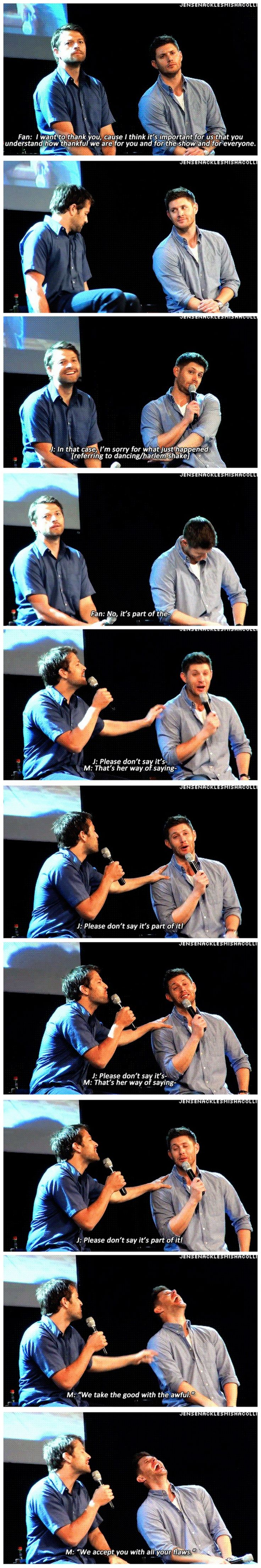 [gifset] After the Harlem Shake ... Jensen's embarrassment kicks in ♥ #JibCon14 #Jensen #Misha