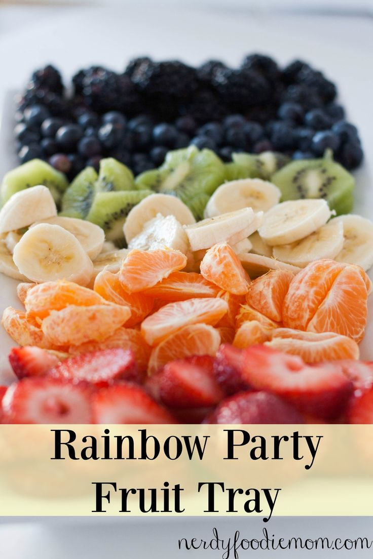 Rainbow Party Fruit Tray - this is a great appetizer for those wanting to avoid the normal greasy and unhealthy appetizer dishes at get togethers!