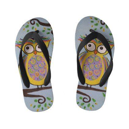 #Cute Owl Kids Flip Flops - #giftideas for #kids #babies #children #gifts #giftidea