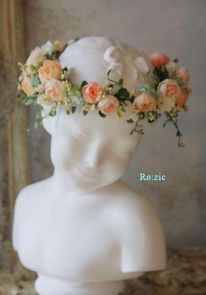 2013.4.1 ピーチ&オレンジ色の花冠、リストレット、ブートニア : Ro:zic die floristin