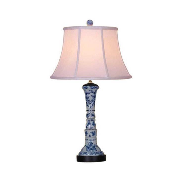 """Chinese Blue and White Porcelain Vase Floral Motif Table Lamp 25"""""""