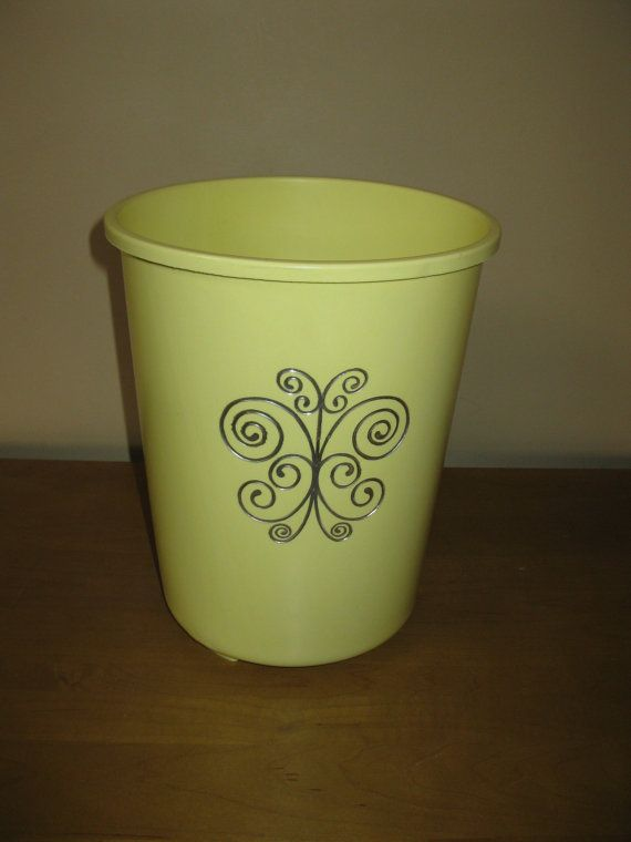 vintage yellow plastic waste basket trash can pale yellow round waste