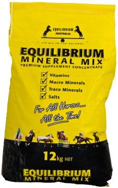 IN STOCK: 5kg, 12kg, 22kg Equilibrium Mineral Mix Yellow - Equilibrium supplements contain balanced ratios of macro minerals, trace minerals, vitamins and salts. Dosage varies depending on size and workload (35g - 140g per day). Can be added to hard feed or fed as a loose lick. Australian made and owned, used by recreational horse riders and elite performance stables around the world. Equilibrium Australia - we don't sell hope, we sell results!