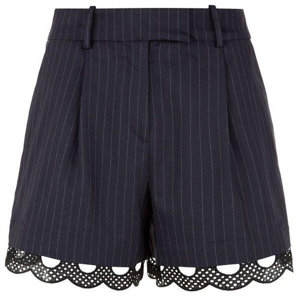 Claudie Pierlot Etoile Pinstripe Shorts (2284195 BYR) ❤ liked on Polyvore featuring shorts, bottoms, pants, white lace trim shorts, crochet shorts, macrame shorts, claudie pierlot and lace trim shorts