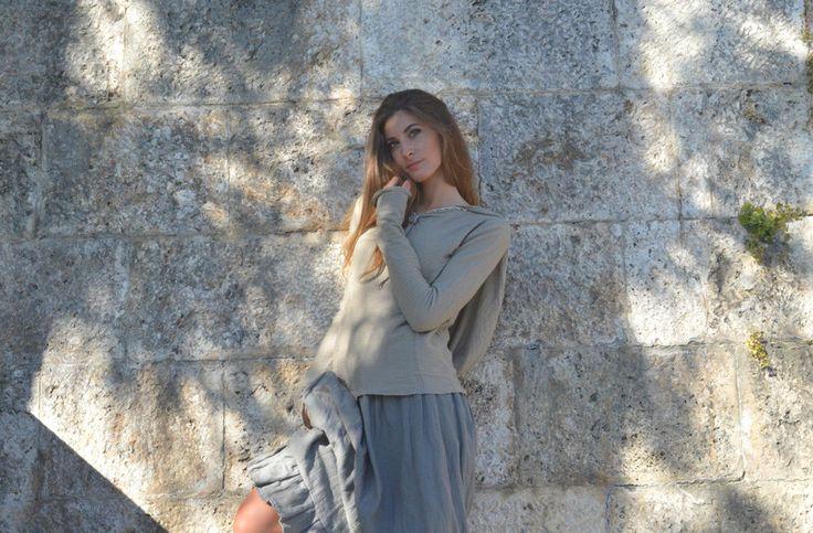Magliette a manica lunga - Maglia grigia con cappuccio morbido - un prodotto unico di SusannaSilicani su DaWanda