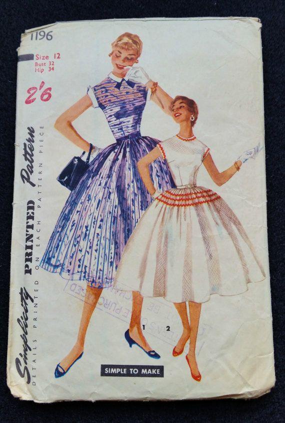 Швейная шаблон, Размер простоту 32 Бюст 34 номер 1196 Хип цельный платье 1950-х годов рокабилли полный круг юбка средний размер мода 12 века