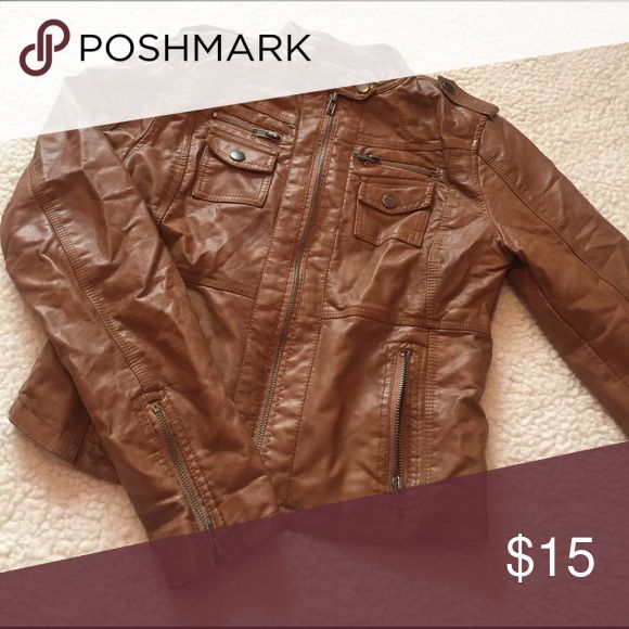 Brown Leather Jacket Brown faux leather jacket slightly worn but like new! Xhilaration Jackets & Coats