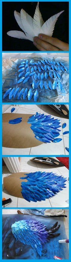 Great Easy tutorial/idea instead of using cardboard use cheap plastic and cut the feathers out of coffee filters. Paint last!