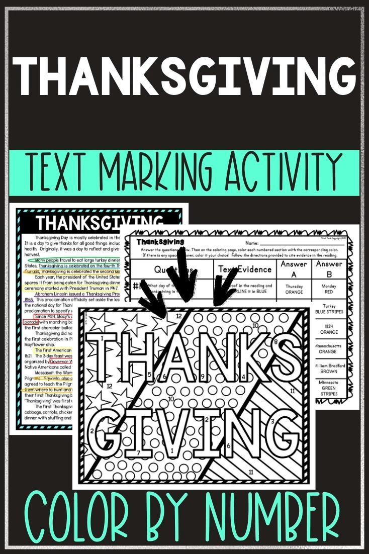 Thanksgiving Color By Number Reading Passage And Text Marking Video Video Middle School Reading Reading Comprehension Upper Elementary Resources [ 1102 x 734 Pixel ]