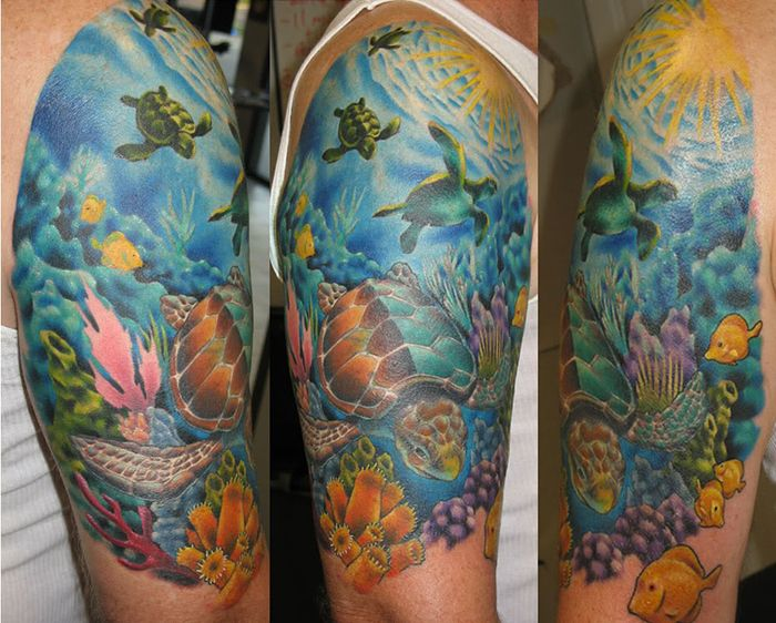 tattoos ocean theme | Ocean life halve sleeve tattoos, popular marine life tattoo designs in ...