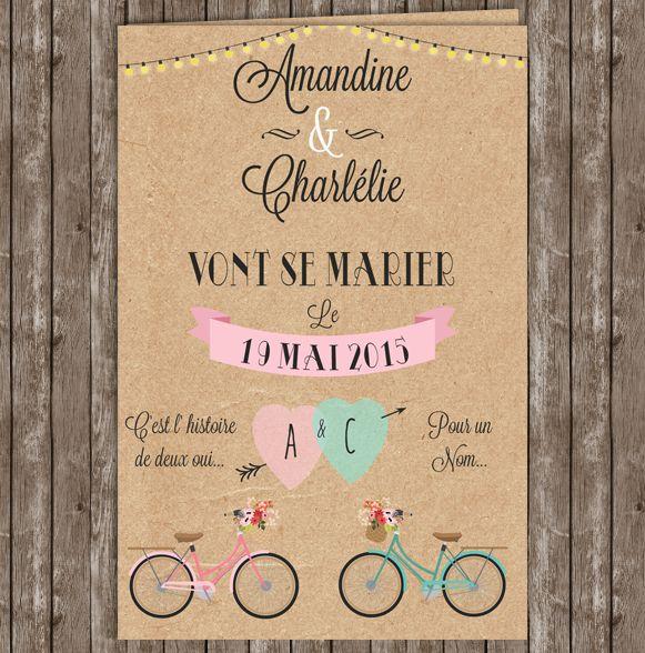 faire part invitation romantique pastel kraft champetre