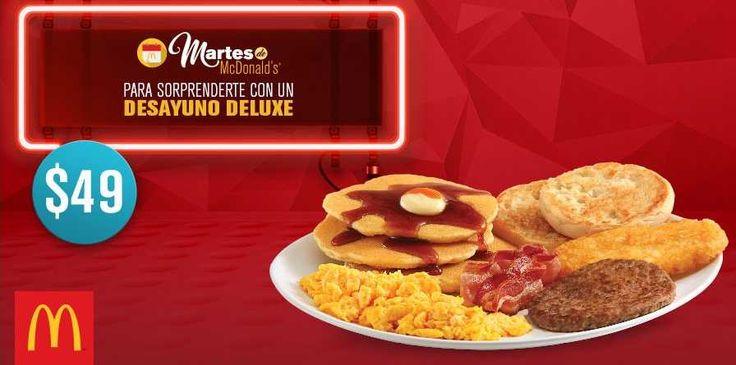 Este Martes de McDonald's disfruta un Desayuno deluxe por $49 pesos, sólo muestra el cupón en tu celular en los restaurantes McDonalds participantes