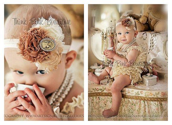 Cream petti lace romper and headband SET, petti romper,baby headband, flower headband,vintage inspired headband and lace petti romper