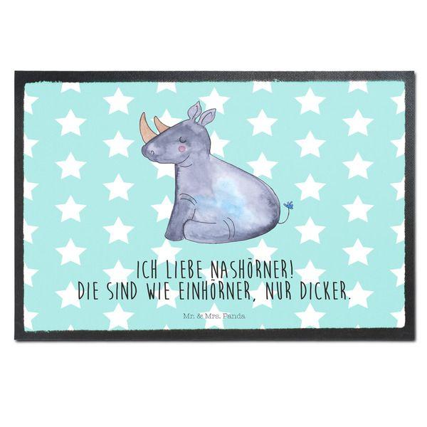 Fußmatten - Fußmatte Druck Einhorn Nashorn aus Velour Schwarz - ein Designerstück von Mein-Einhorn-und-ich bei DaWanda