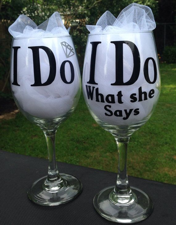 Bride and Groom I Do Wine Glasses wedding humor by KatBsCraftery
