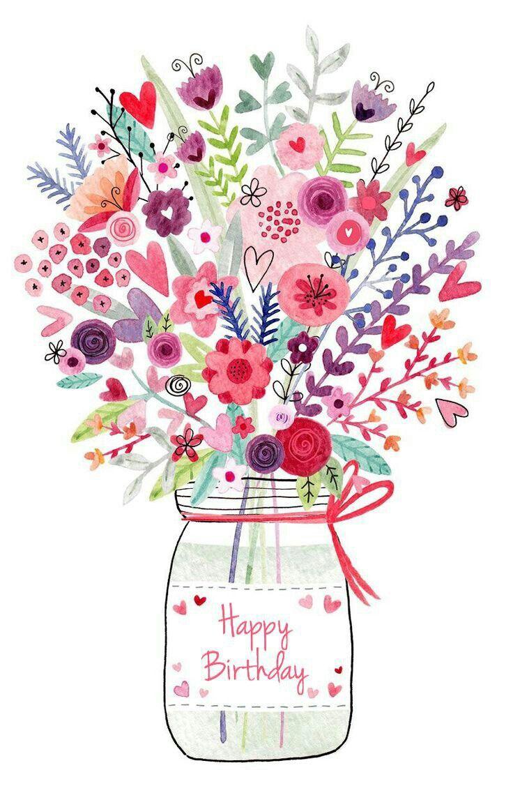 Flowers n Mason Jar. Happy Birthday Wishes