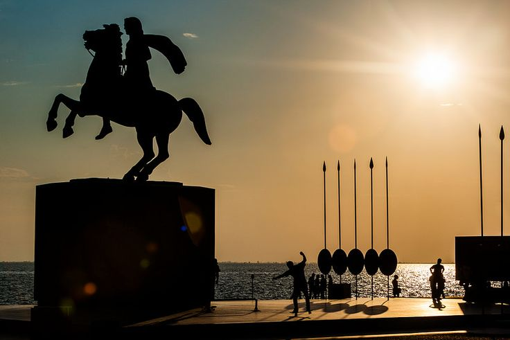Skateboarding in the sunset under the Great Alexander Statue, Thessaloniki