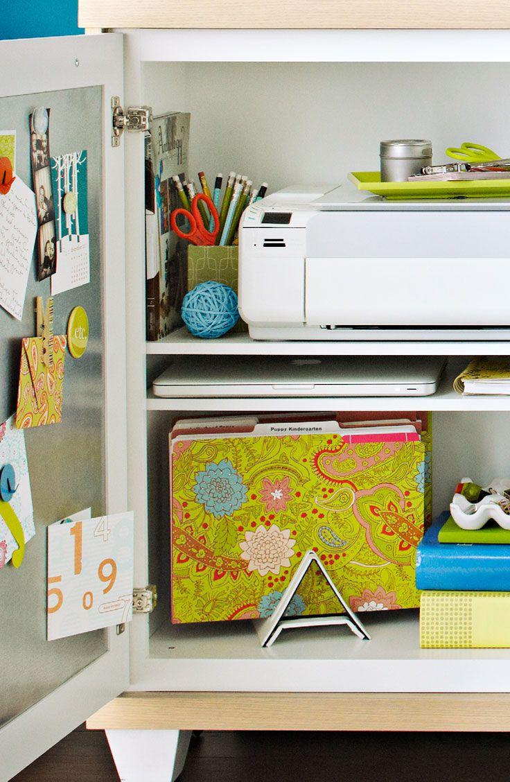 Adjustable shelves customfit a printer/scanner and a