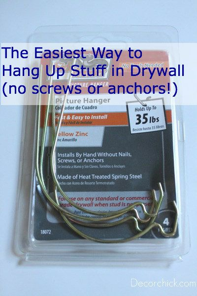 Easy tip to hang up items on drywall and sheetrock, and no tools, screws or anchors required.