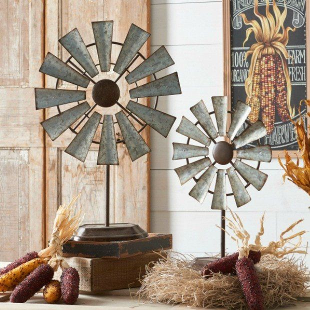 Farmhouse Tabletop Windmill, Set of 2