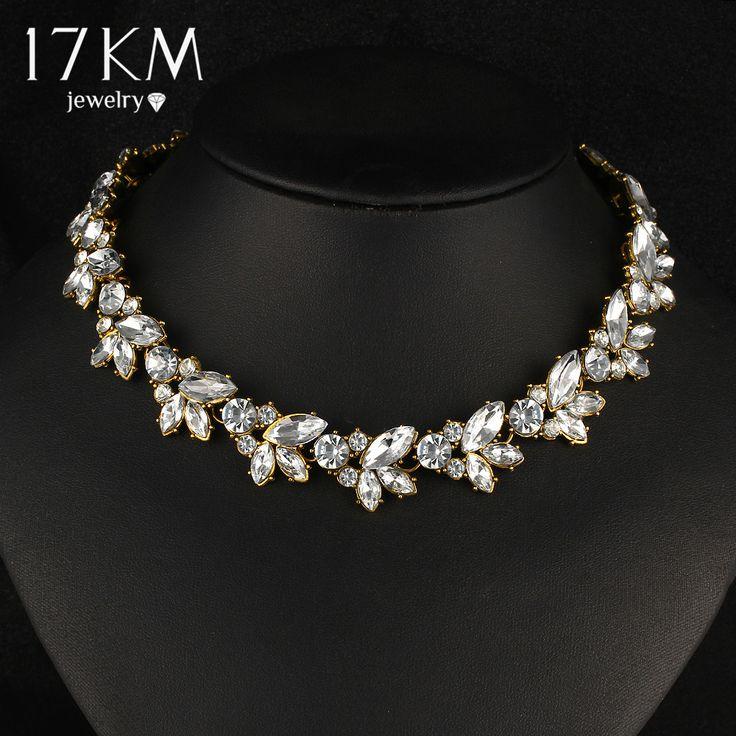 17KM New Design Fashion Charm Crystal Bib choker Necklace rhinestone gem flower Bar Necklace Statement  Jewelry for women