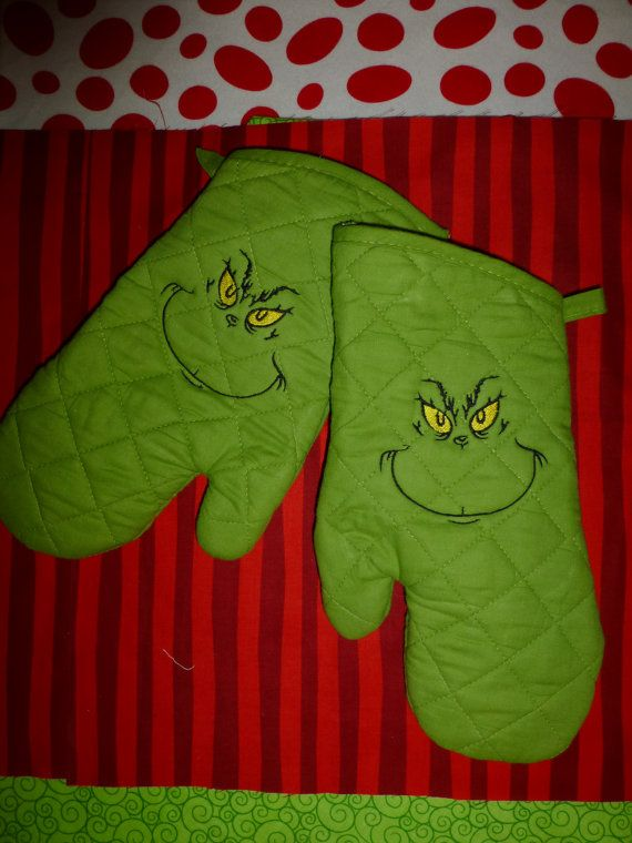 The GRINCH CUSTOM EMBROIDERED Oven Mitt Pair by DesignsbySugarbear, $27.99