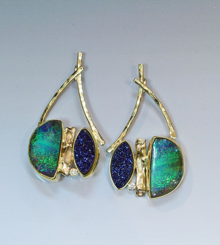 Boulder opal, diamond, & drusy earring in 22k & 18k gold. by Jennifer Kalled; boulder opal from Bill Kasso.