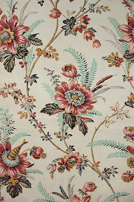 Antique French Fabric Indienne Floral Arborescent Design c1870 Material | eBay
