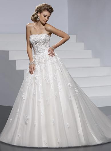 Fashionable strapless natural waist net wedding dressDresses Wedding, Lace, Wedding Dressses, White Wedding Dresses, Ball Gowns, Strapless Wedding Dresses, Dress Wedding, Fashion Wedding Dresses, Dreams Dresses