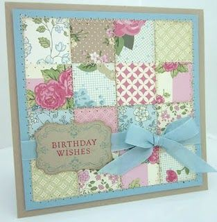 SU Four Frames, decorative label punch, uses up DSP(Springtime Vintage) scraps - stitched