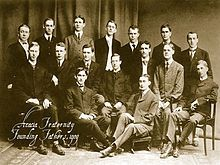 Malcolm, 2nd row, 2nd from right pictured in 1904 with fellow founding members of Acacia Fraternity