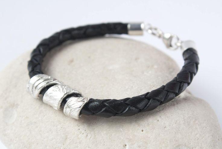 Men's Black Leather Silver Bracelet,  Leather Cord Bracelet, Men's Silver Braided Leather cord Bracelet, Men's Jewellery, Men's Bracelet by CMFDesignsJewellery on Etsy
