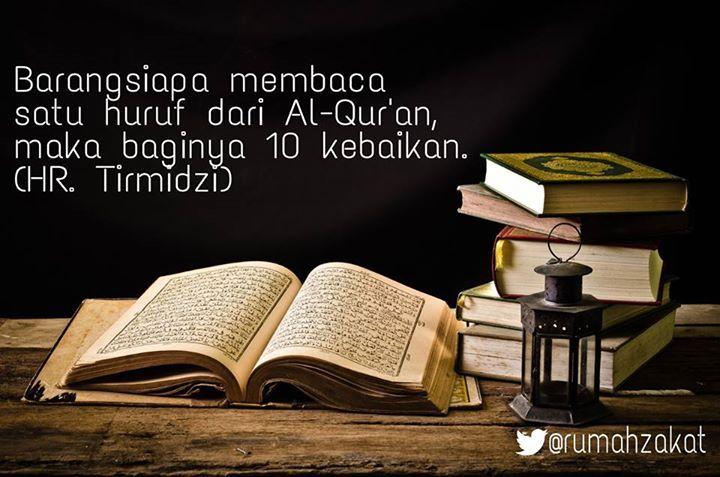 Bacalah Al Qur'an, 1 huruf = 10 pahala kebaikan