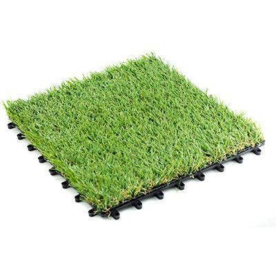 "Zen Garden Grass 12"" x 12"" Plastic Interlocking Deck Tiles"