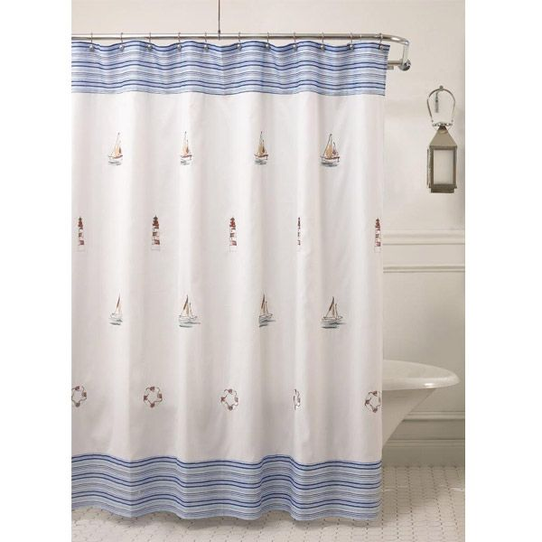 Annapolis Nautical Fabric Shower Curtain