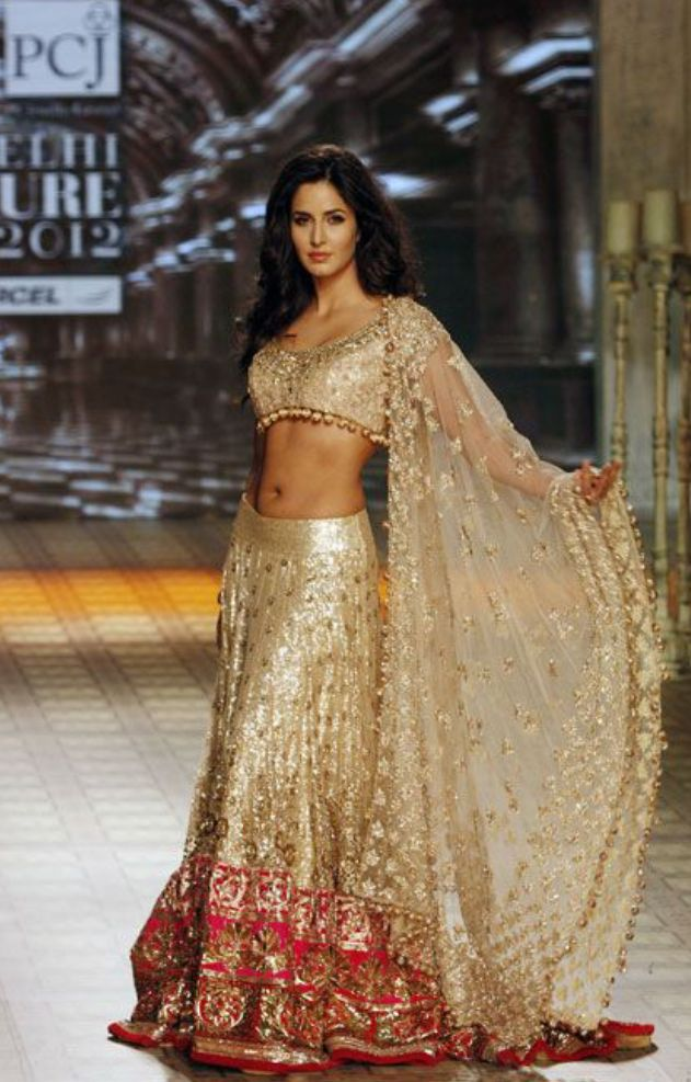 #katrinakaif in a gorgeous cream and pink lengha jewelled with sparkles