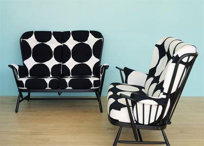 Marimekko Kivet Black and White Love Seats