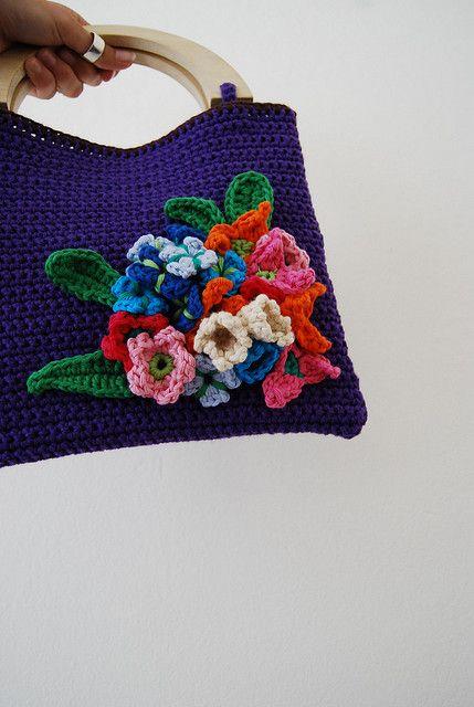 flowers on purple bag