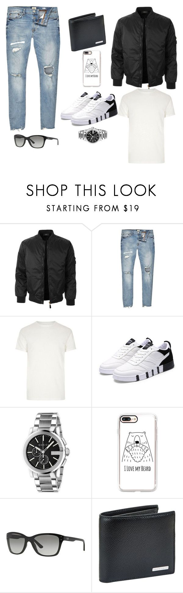 """""""Untitled #64"""" by maya-marc ❤ liked on Polyvore featuring LE3NO, River Island, Gucci, Casetify, Armani Exchange, BOSS Hugo Boss, men's fashion and menswear"""